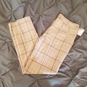 Tan Plaid Trousers, NWT